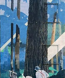 Mural #5 — Fallers Undercutting A Fir