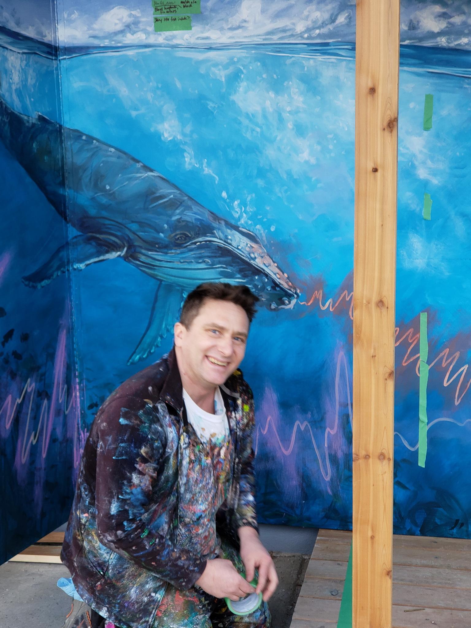 The artist, Kris Friesen, during construction (Feb. 22, 2020).