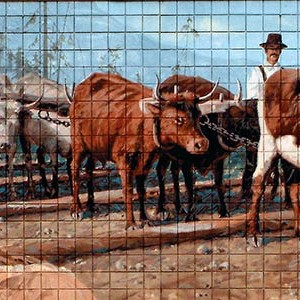Mural #7 — Logging with Oxen