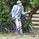 Charlie Abbott the Hermit With His Bicycle, Sculpture - Private Commisison