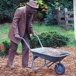 Charlie Abbott With Wheelbarrow, Sculpture - Private Commission